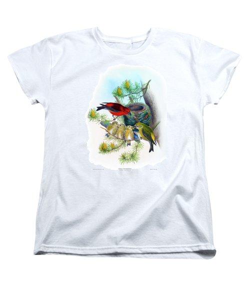 Common Crossbill Antique Bird Print John Gould Hc Richter Birds Of Great Britain  Women's T-Shirt (Standard Cut) by Orchard Arts