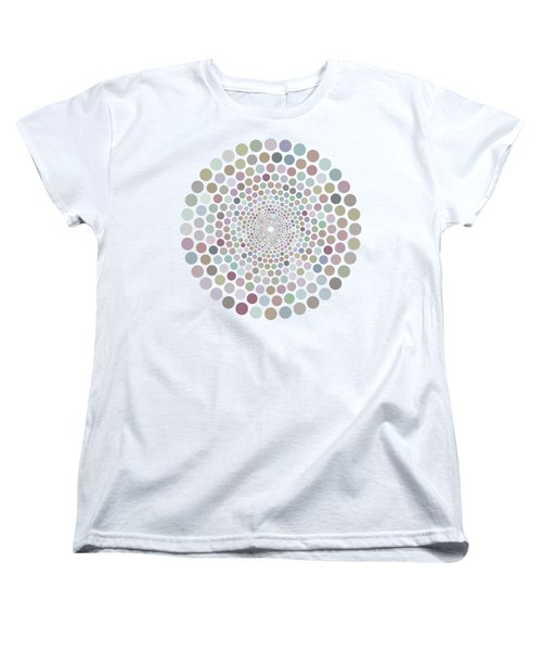 Women's T-Shirt (Standard Cut) featuring the painting Vortex Circle - White by Hailey E Herrera