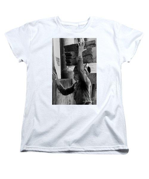 Women's T-Shirt (Standard Cut) featuring the photograph Construction Labourer - Bw by Werner Padarin