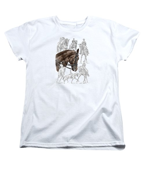 Women's T-Shirt (Standard Cut) featuring the drawing Contemplating Collection - Dressage Horse Print Color Tinted by Kelli Swan