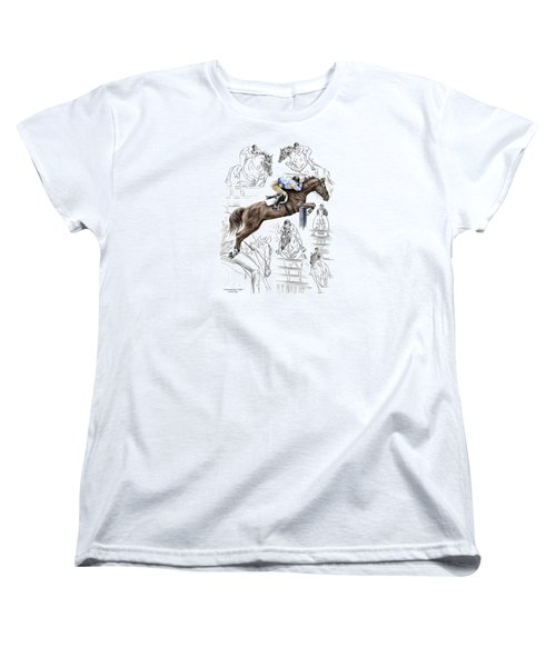 Women's T-Shirt (Standard Cut) featuring the drawing Contemplating Flight - Horse Jumper Print Color Tinted by Kelli Swan