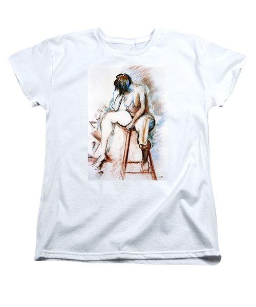 Contemplation - Nude On A Stool Women's T-Shirt (Standard Cut) by Kerryn Madsen-Pietsch