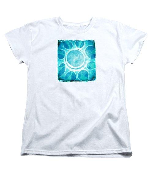 Women's T-Shirt (Standard Cut) featuring the digital art Cool Blue Flower by Lenny Carter