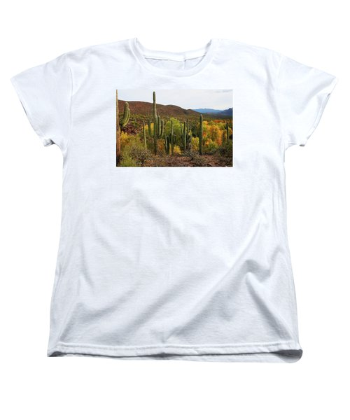 Coon Creek With Saguaros And Cottonwood, Ash, Sycamore Trees With Fall Colors Women's T-Shirt (Standard Cut) by Tom Janca