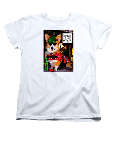 Women's T-Shirt (Standard Cut) featuring the digital art Corgi - Drinks Well With Others by Kathy Kelly