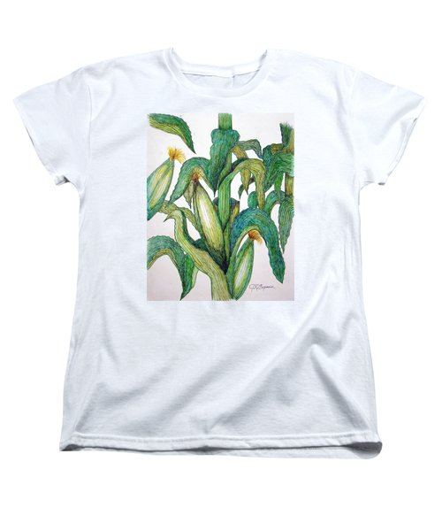 Corn And Stalk Women's T-Shirt (Standard Cut) by J R Seymour