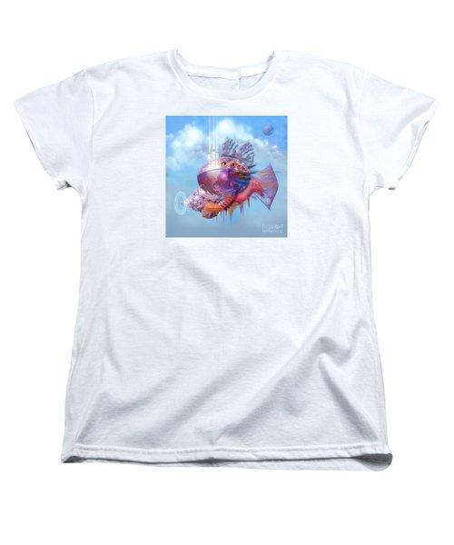 Women's T-Shirt (Standard Cut) featuring the digital art Cosmic Fish Spaceship by Alexa Szlavics