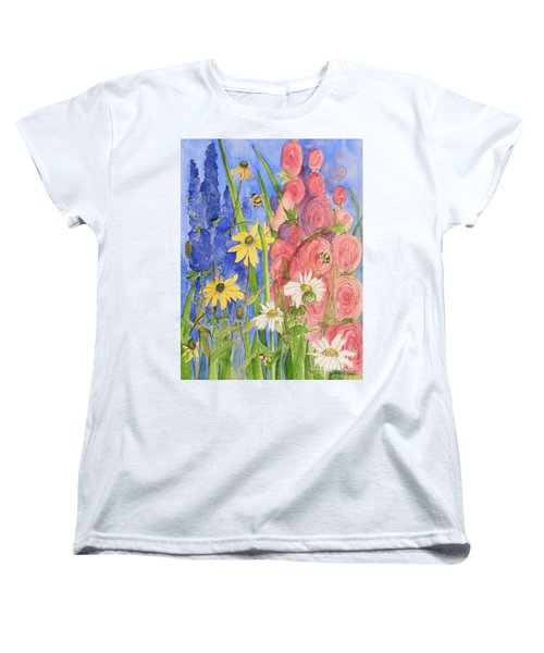 Women's T-Shirt (Standard Cut) featuring the painting Cottage Garden Daisies And Blue Skies by Laurie Rohner