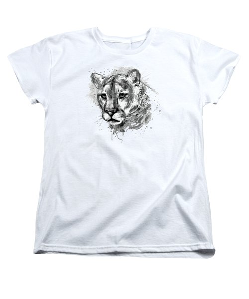 Women's T-Shirt (Standard Cut) featuring the mixed media Cougar Head Black And White by Marian Voicu
