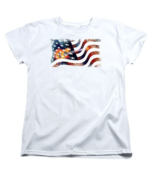 Country Music Guitar And American Flag Women's T-Shirt (Standard Cut)