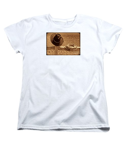 Cowboy Hat And Rope On A Fence Women's T-Shirt (Standard Cut) by American West Legend By Olivier Le Queinec
