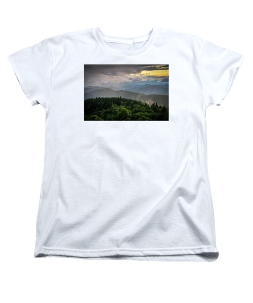 Cowee Mountain Sunset Women's T-Shirt (Standard Cut) by Serge Skiba