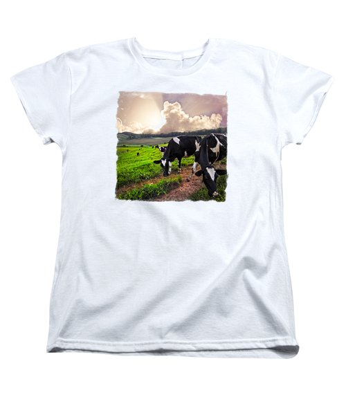 Cows At Sunset Bordered Women's T-Shirt (Standard Cut) by Debra and Dave Vanderlaan