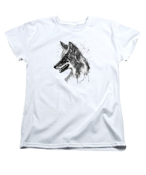 Women's T-Shirt (Standard Cut) featuring the mixed media Coyote Head Black And White by Marian Voicu