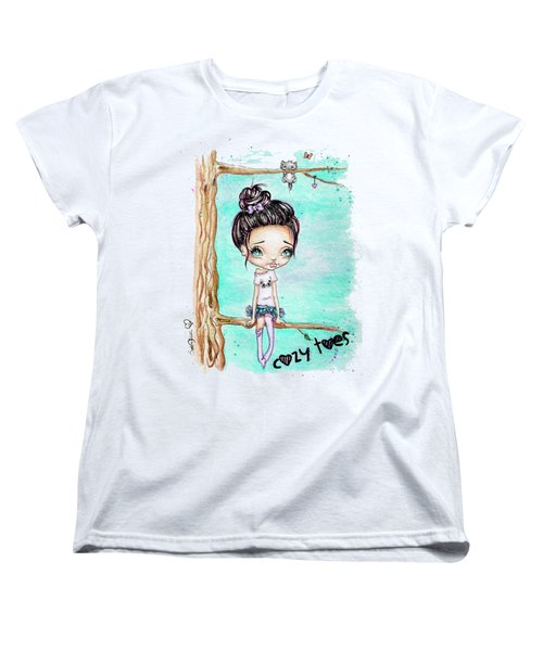 Women's T-Shirt (Standard Cut) featuring the painting Cozy Toes by Lizzy Love