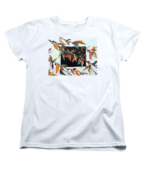 Crabapple Branches With Black Women's T-Shirt (Standard Cut) by Jodie Marie Anne Richardson Traugott          aka jm-ART