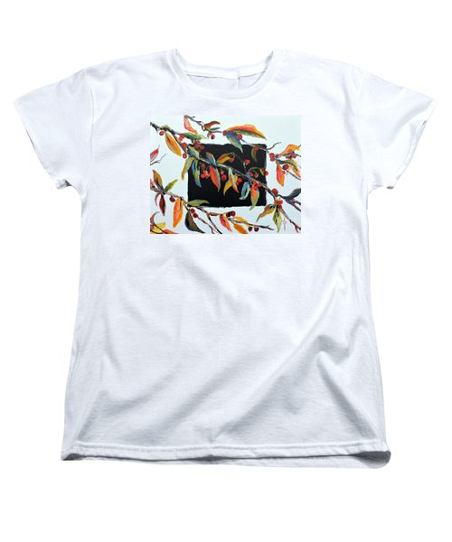 Crabapple Branches With Black Women's T-Shirt (Standard Cut)