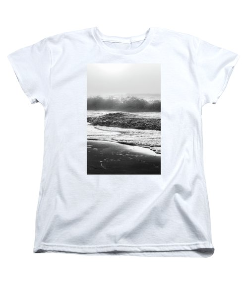 Women's T-Shirt (Standard Cut) featuring the photograph Crashing Wave At Beach Black And White  by John McGraw