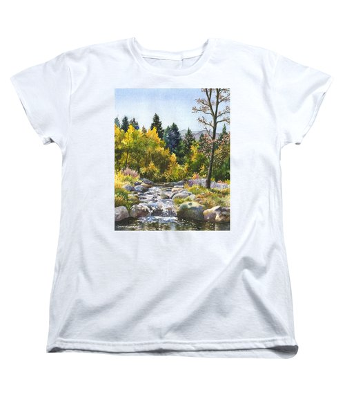 Women's T-Shirt (Standard Cut) featuring the painting Creek At Caribou by Anne Gifford