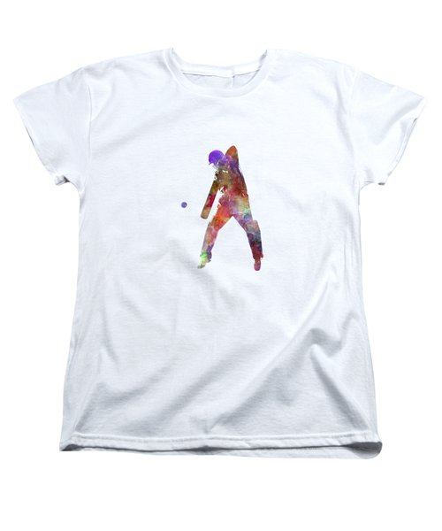 Cricket Player Batsman Silhouette 02 Women's T-Shirt (Standard Cut) by Pablo Romero