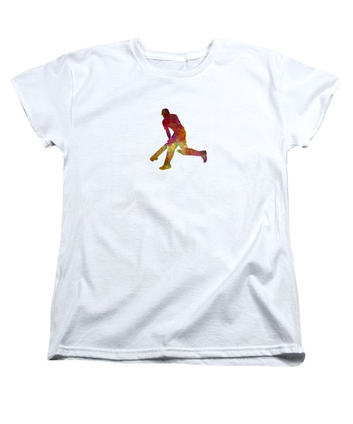 Cricket Player Batsman Silhouette 03 Women's T-Shirt (Standard Cut) by Pablo Romero