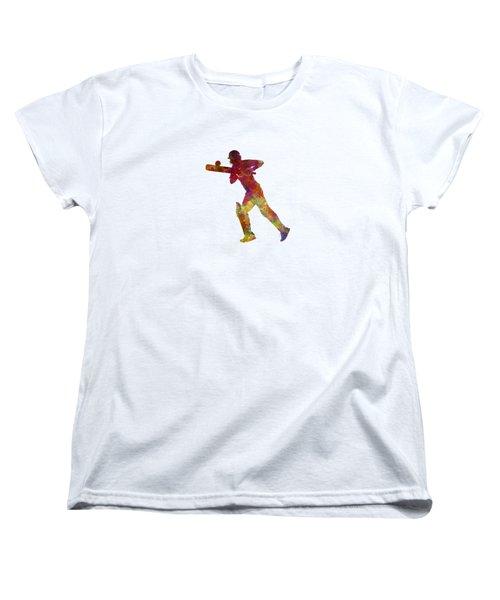 Cricket Player Batsman Silhouette 06 Women's T-Shirt (Standard Cut) by Pablo Romero
