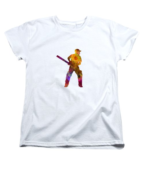 Cricket Player Batsman Silhouette 07 Women's T-Shirt (Standard Cut) by Pablo Romero