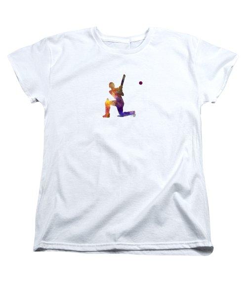 Cricket Player Batsman Silhouette 08 Women's T-Shirt (Standard Cut) by Pablo Romero