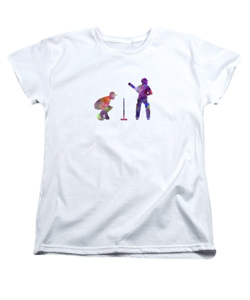 Cricket Player Silhouette Women's T-Shirt (Standard Cut) by Pablo Romero