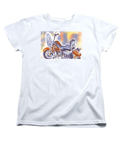 Crimson Motorcycle In Watercolor Women's T-Shirt (Standard Cut) by Kip DeVore