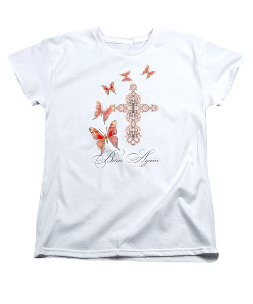Cross Born Again Christian Inspirational Butterfly Butterflies Women's T-Shirt (Standard Cut) by Audrey Jeanne Roberts