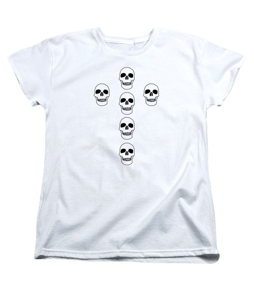 Cross In Skulls Clothing And Decor Women's T-Shirt (Standard Cut) by Linsey Williams
