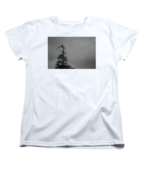 Crow Perched On Tree Top - Black And White Women's T-Shirt (Standard Cut)