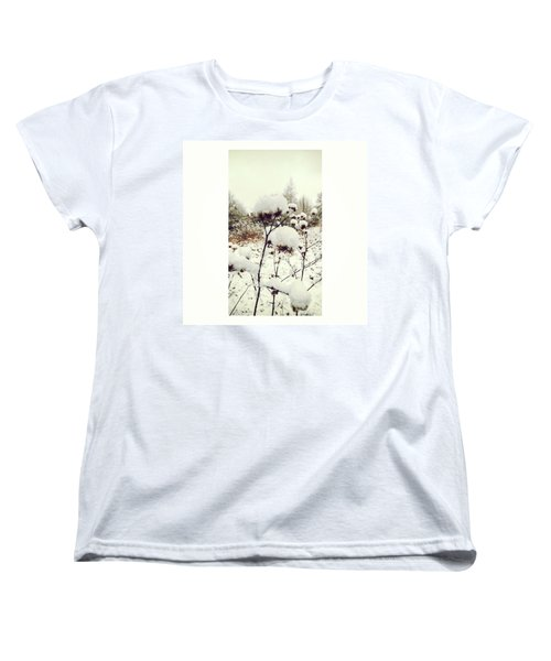 Crowns Of Snow#winter #snow #floral Women's T-Shirt (Standard Cut) by Mandy Tabatt