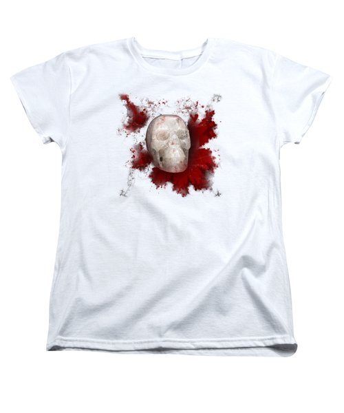 Crystal Skull With Red On Transparent Background Women's T-Shirt (Standard Cut) by Terri Waters