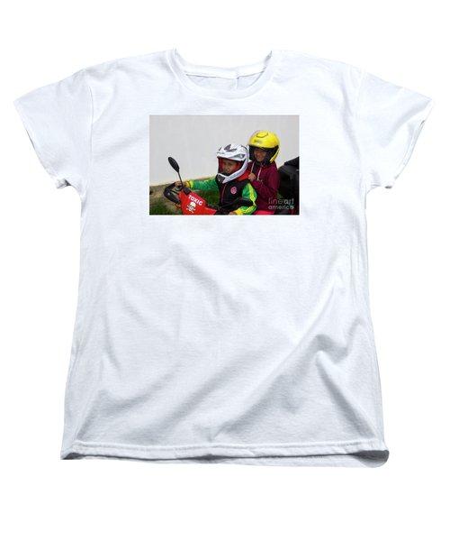 Women's T-Shirt (Standard Cut) featuring the photograph Cuenca Kids 889 by Al Bourassa