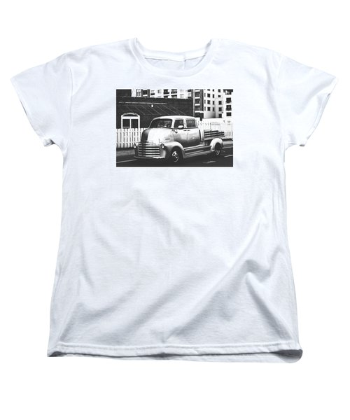 Women's T-Shirt (Standard Cut) featuring the photograph Custom Chevy Asbury Park Nj Black And White by Terry DeLuco