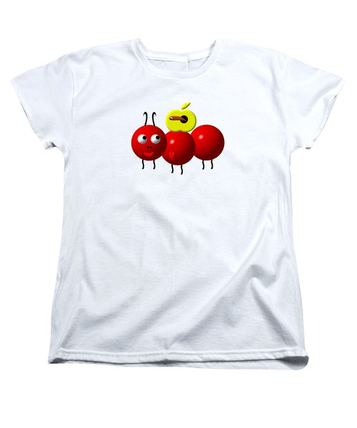 Cute Ant With An Apple Women's T-Shirt (Standard Cut) by Rose Santuci-Sofranko