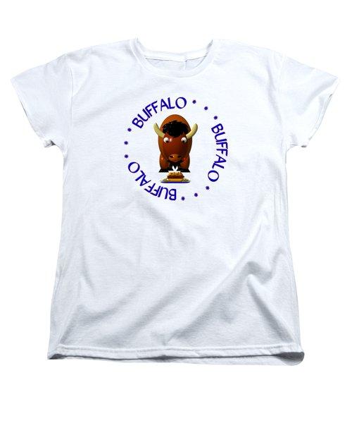 Cute Buffalo With Beef On Weck And Buffalo Wings Women's T-Shirt (Standard Cut)