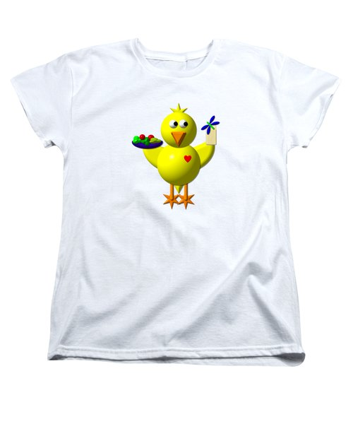 Cute Canary With Salad And Milk Women's T-Shirt (Standard Cut)