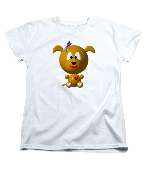 Cute Dog With Dragonfly Women's T-Shirt (Standard Cut) by Rose Santuci-Sofranko