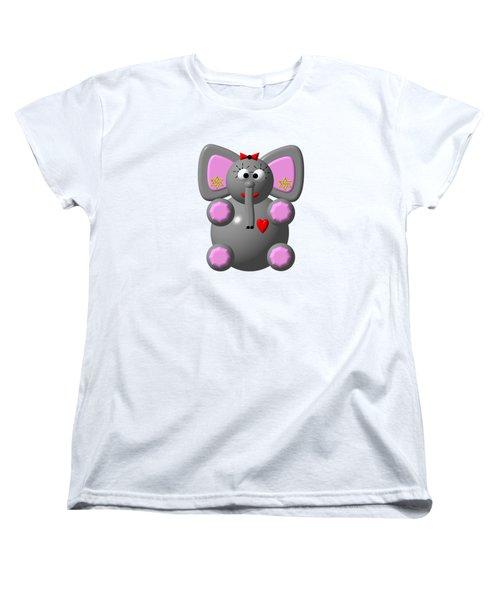 Cute Elephant Wearing Earrings Women's T-Shirt (Standard Cut) by Rose Santuci-Sofranko