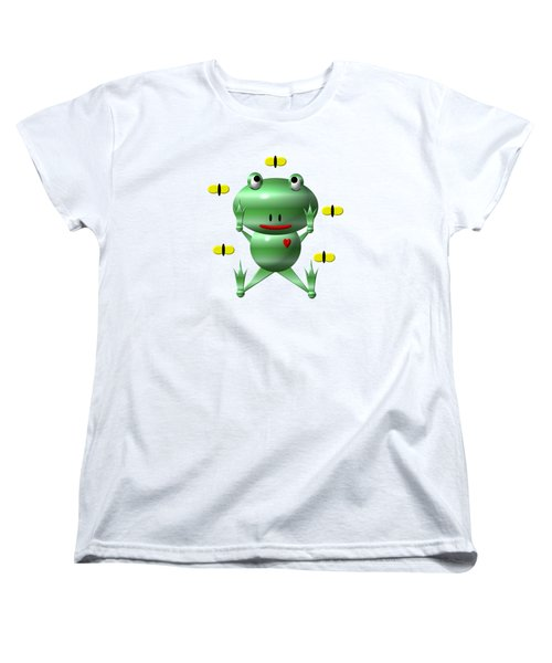 Cute Frog With Flies Women's T-Shirt (Standard Cut) by Rose Santuci-Sofranko