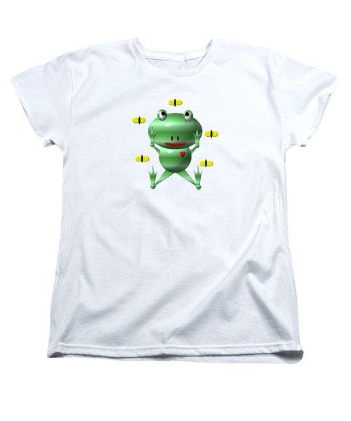 Cute Frog With Flies Women's T-Shirt (Standard Cut)