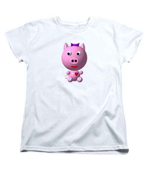 Cute Pink Pig With Purple Bow Women's T-Shirt (Standard Cut) by Rose Santuci-Sofranko