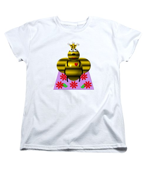 Cute Queen Bee On A Quilt Women's T-Shirt (Standard Cut) by Rose Santuci-Sofranko