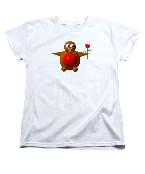 Cute Robin With Rose Women's T-Shirt (Standard Cut)