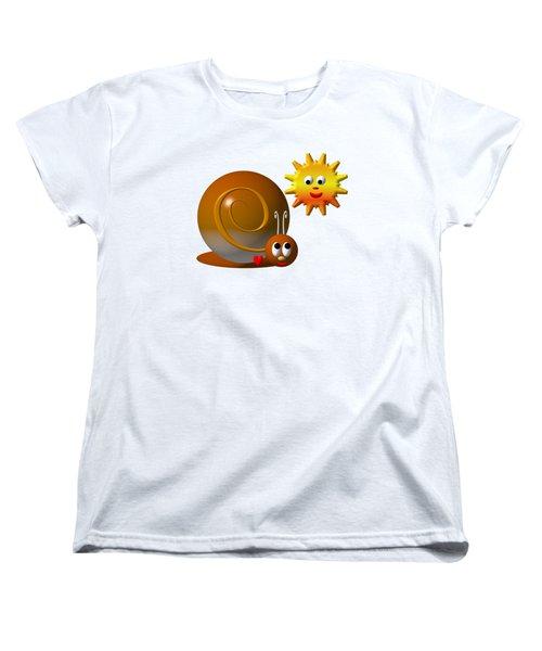 Cute Snail With Smiling Sun Women's T-Shirt (Standard Cut) by Rose Santuci-Sofranko