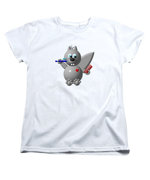 Cute Squirrel Brushing It's Hair And Teeth Women's T-Shirt (Standard Cut) by Rose Santuci-Sofranko