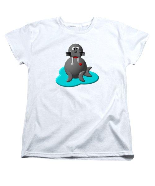 Cute Walrus In Water Women's T-Shirt (Standard Cut)
